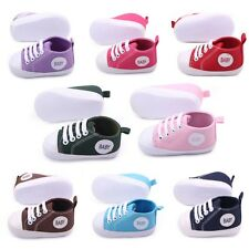 0-12 Month Baby Casual Canvas Sneakers Laces Crib Shoes Anti-Slip Walk Shoes M63