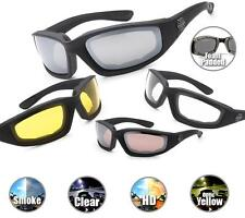 Choppers Motorcycle Sunglasses Foam Padded CLEAR SMOKE HD YELLOW or Combo Mens