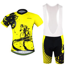 Men's Cycling Clothing Suit Short Sleeve Bicycle Jerseys +(Bib) Short Set Yellow