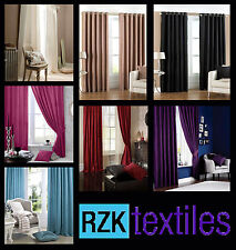 Luxury Faux Silk Ring Top Eyelet Curtains, Fully Lined Ready Made Curtain Pair