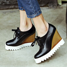 Fashion Women High Wedge Heel Platform Shoes Lace Up Casual Shoes Ankle Bootie