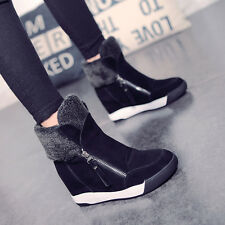 Fashion Women Suede High Top Sneakers Hidded Heel Ankle Boots Casual Warm Shoes