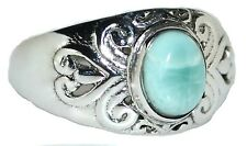 Larimar Sterling SILVER Ring Blue Solitaire Gemstone 925 All Sizes L 5½ to V 10½