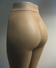 Music Legs 9000 Q Tights Fishnet Lycra/Spandex One Size Plus 1X Queen Nude Beige