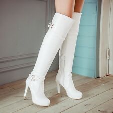 Size 4-11 Chic Women's Gladiator Kitten Heel Stretchy Over Knee Thigh High Boots