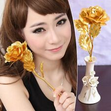 New Artificial Flower 24K Gold Plated Long Stem Rose Birthday Holiday Gift 1PC
