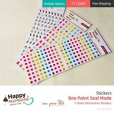 (15 Types) One Point Seal Made Stickers For Diary Organizer Decoration 1 sheet