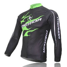 MERIDA Men's Cycling Jerseys Long Sleeve Green Fire MTB Bike Bicycle Jersey Top