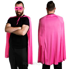 PINK SUPERHERO CAPE AND MASK FANCY DRESS LADIES MENS HEN STAG NIGHT PARTY KIT