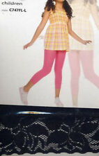Music Legs 275 Child Nylon Footless Tights Lace Cuff Girls Size Small Black