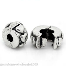 W09 Wholesale Lots European Charm Stopper Clip&Lock Heart Silver Tone 11x10mm