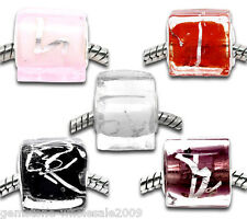 Wholesale Lots Mixed Foil Glass Cube Beads Fit European Charm Bracelet