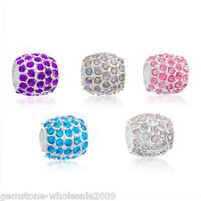 Wholesale Lots Silver Plated Dense Rhinestone Spacer Bead Fit Bracelet 10x10mm