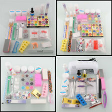 Nail Art Kit Glitter Acrylic Powder Primer UV Gel Dust Cleaner Tips Buffer Hot