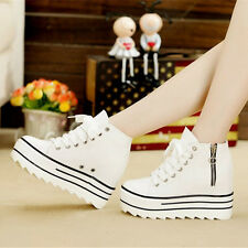 Womens Casual Sneakers Lace Up Canvas Hiking Flats Lace Up High Top Sports Shoes