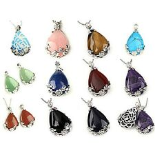 Lady Natural Gemstone Teardrop Raindrop Shaped Pendant Bead Necklace Jewelry M97