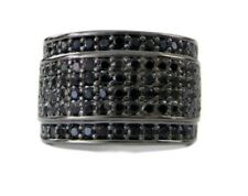 Mens BLACK BAND OF ICE Micropave Black Chrome HipHop Bling