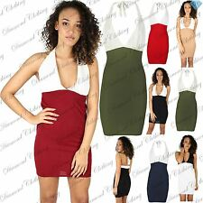Womens Ladies Bodycon Mini Dress Halter Neck Tie Back Knot Deep Plunge Contrast