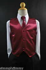 Children BURGUNDY SATIN VEST TIE Boy's Suit Tuxedo Sz 2T 3T 4T 5 6 7 8 10 12 14