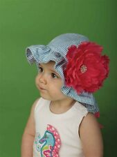 New Mud Pie Lily Pad Teal/Navy Seersucker Reversible Flower Sun Hat 0-12m 18-2T