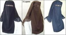 3 Layers burqa Hijab Face cover Veil Islam Islamic EID XL Long Saudi Niqab Nikab