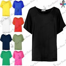 Ladies Stretchy Womens Oversize Baggy Short Sleeves Batwing T Shirt Blouse Top