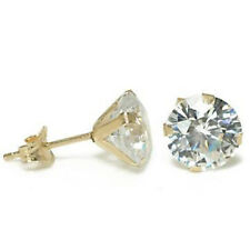 Solid 14 KT Yellow Gold Round CZ Stud Solitaire Earrings Choose - 2 MM to 10 MM