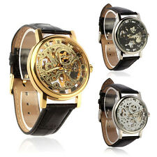Mens Watches Mechanical Skeleton Watch Hand Wind Up Leather Strap Wrist watch