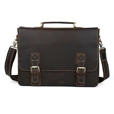 Mens Real Leather Tote shoulder Messenger Bag Briefcase 16'' Macbook Laptop Case