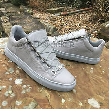 Auth Balenciaga Arena GREY Creased Leather Low Top Sneakers 39/40/41/42/43/44