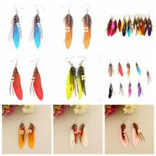 Women Jewelry Handmade Earrings Goose Tassel Feather Dangle Eardrop Long Dangle