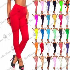 Womens Plain Basic Stretchy Pants Ladies Full Ankle Length Trousers Leggings