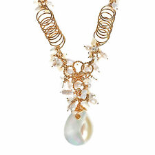 Exotic Cultured Freshwater Pearl and Shell Chain Statement Necklace (Philippines