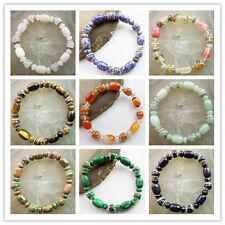 Beautiful Mixed Stone & Tibet Silver Stretchy bracelet 7.5 inch Yang601