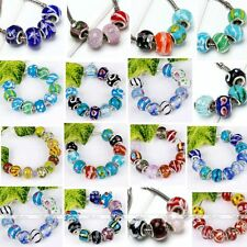 10x Murano Colors Lampwork Glass European 5mm Hole Bead Fit Charm Chain Bracelet