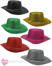 12 X GLITTER COWBOY HAT WILD WEST COWGIRL HEN STAG PARTY HOLIDAY CHOOSE COLOUR
