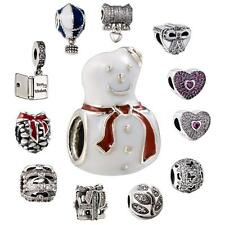 925 Sterling Silver Charms Snowman/Heart/Bowknot Bead For European bracelet Q7A7