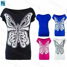 Womens Off Shoulder Batwing Top Ladies Butterfly Glitter Sequin Flower T Shirt
