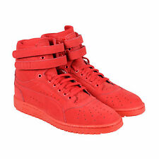 Puma Sky II Hi Mono NBK Mens Red Nubuck High Top Lace Up Sneakers Shoes
