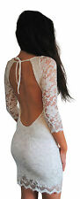 JOHN ZACK IVORY CREAM BACKLESS BODYCON STRETCH LACE DRESS NEW SIZES 6 - 16