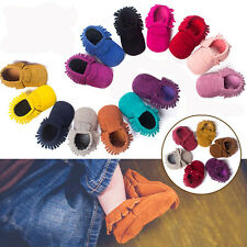Multi-Coloured Soft Leather Infant Baby Boys & Girls Tassel Sole Moccasin # QBT