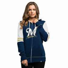 Women's Majestic Navy Milwaukee Brewers Big Time Attitude Full-Zip Hoodie - MLB