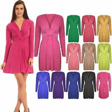 Womens Ladies Long Sleeve Neck Bow Knot Ruched Bodycon Midi Dress Top