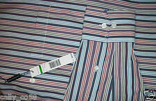 Alex Cannon mens multi green blue stripe button dress shirt collar pocket L $95