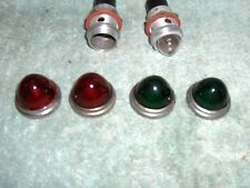 Vintage  RAT ROD BEEHIVE Red & Green  Glass Lens lot of 4 - Plus  2 bases Used