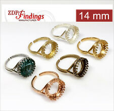 4pcs Round 14mm Bezel Cups Adjustable Ring For Setting - Choose Your Finish