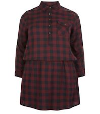 New Look Inspire Burgundy Black Check Roll Sleeve Shirt Dress Size 18-22 Bnwot