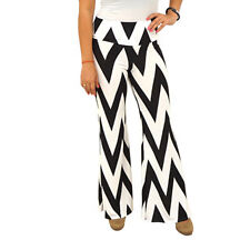Women's Fold Over Waist Wide Leg Chevron Palazzo Pants