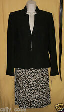Tahari womens brown tan animal 3 pc suit blazer jacket coat top dress skirt $280