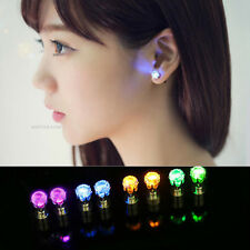 1 Pair LED Luminous Earring Colorful Zircon Diamond Shape Ear Stud Jewelry